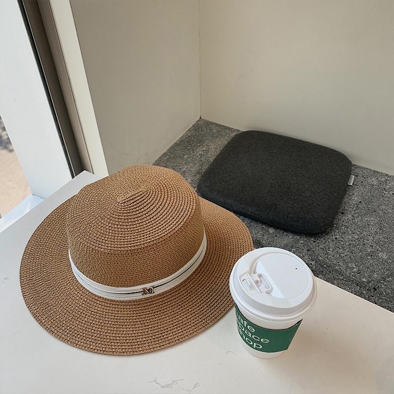 【預購】法式輕奢.簡約字母設計編織草帽~2色