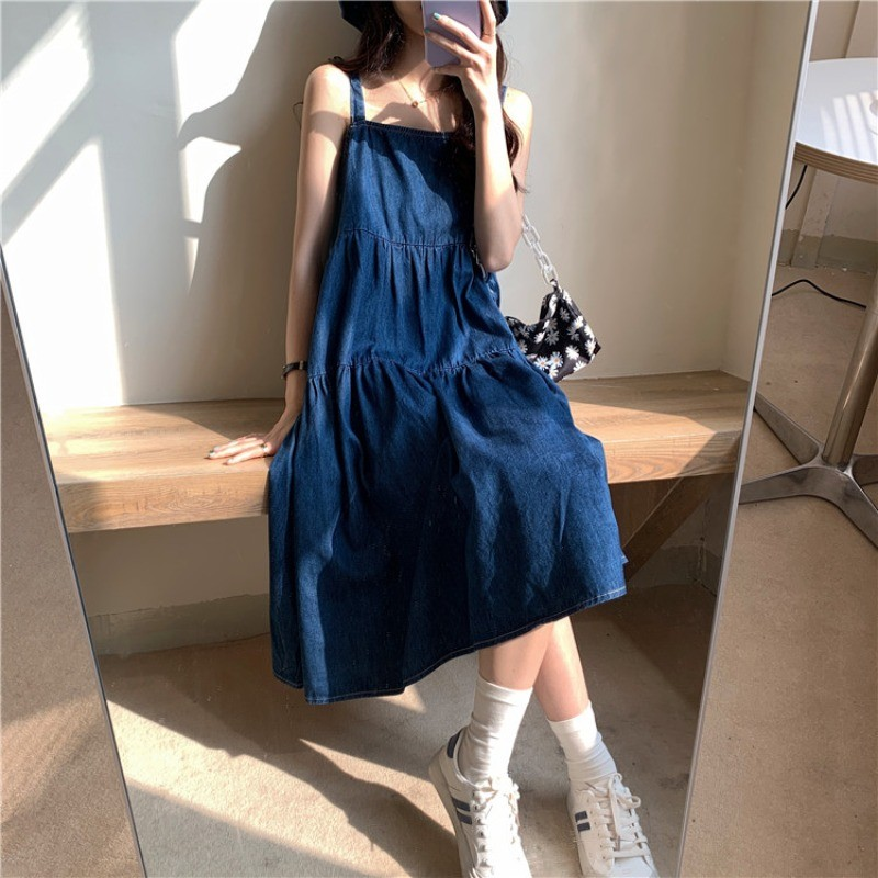 【預購】日系慵懶度假風 牛仔吊帶洋裝