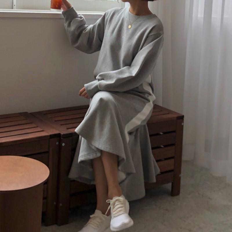 【預購】慵懶風撞色長袖魚尾棉質長洋裝