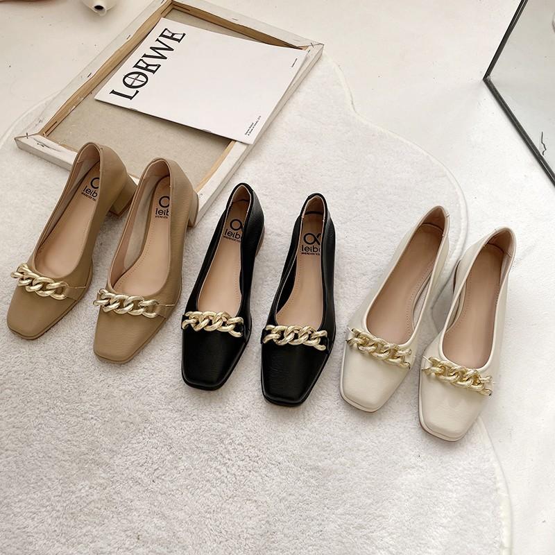 【預購】知性女子專用.鍊條金屬裝飾 超軟Q好走 方頭小皮鞋~3色