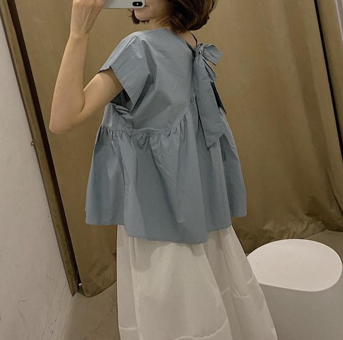 【預購】韓國訂單.姐姐風後綁帶襯衫上衣~2色