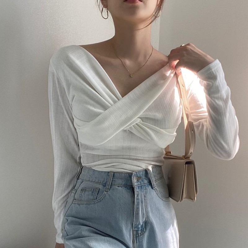 【預購】法式優雅風.胸前交叉設計 V領螺紋棉上衣~4色