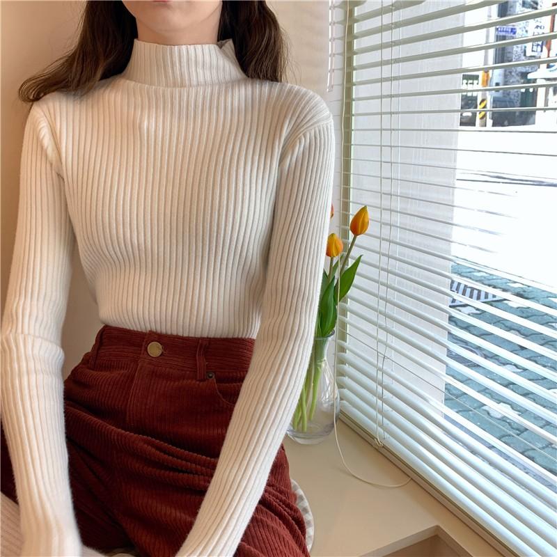 【預購】衣櫃必備款.氣質半高領坑條針織衫上衣~8色