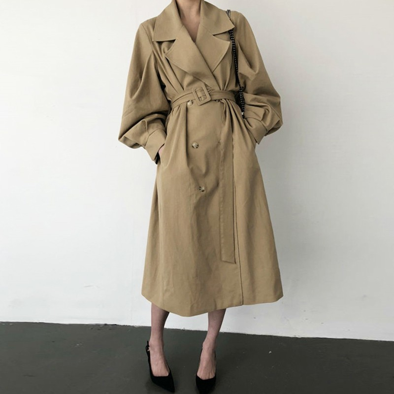 【預購】法式文藝風.帶點可愛感的姐姐風西裝領風衣~2色