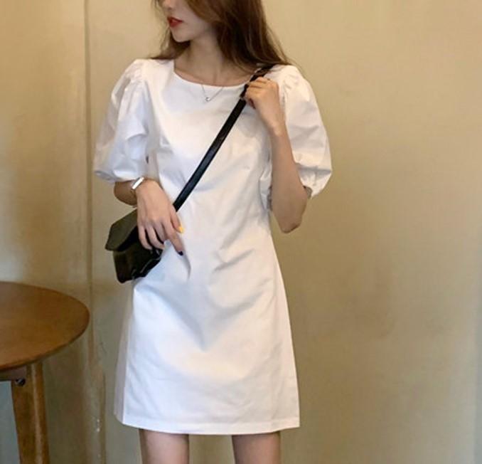 【預購】經典法式百搭款泡泡袖純色洋裝~2色