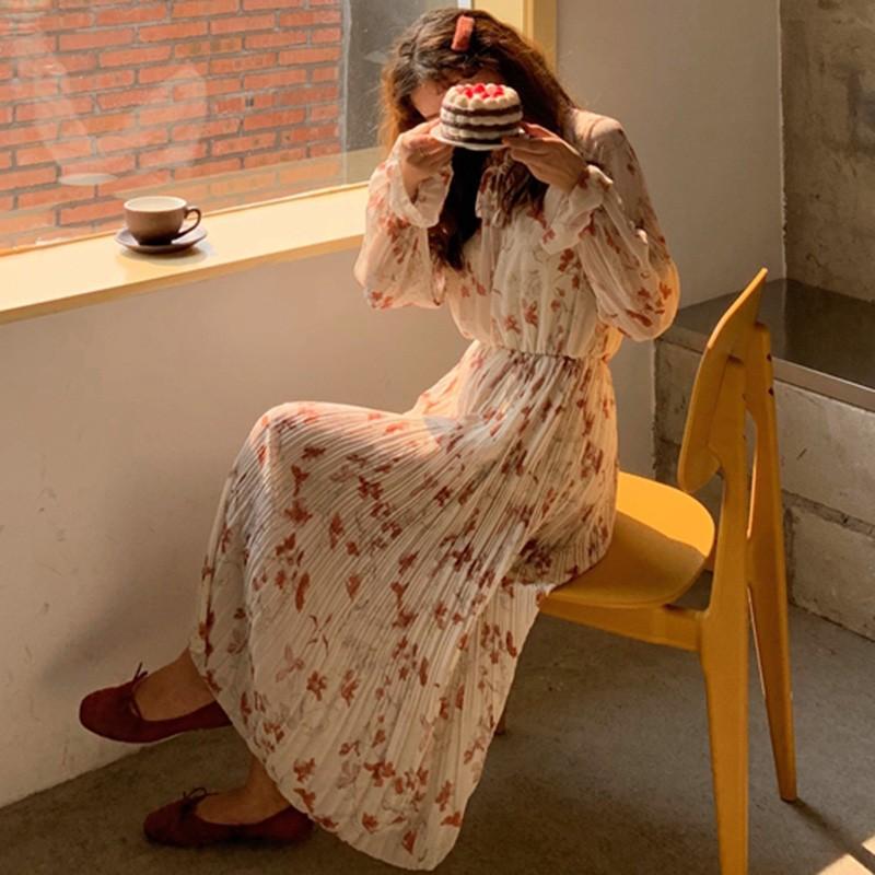 【預購】韓IG 溫柔風碎花雪紡長袖洋裝~2色