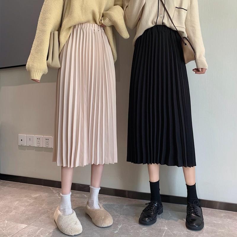 【預購】秋冬穿搭必備.彈力帶百褶半身裙~2色