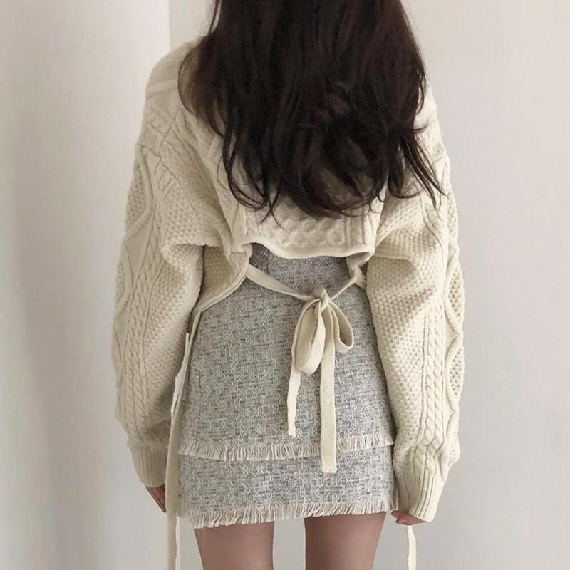 【預購】今年必備款式!外搭後綁帶短款麻花紋毛衣~3色