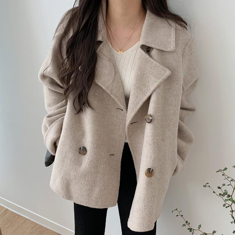 【預購】歐膩的衣櫃.簡約百搭款 西裝領雙排扣毛呢外套~2色