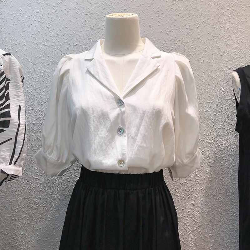 【預購】東大門款.法式日常 西裝領泡泡袖襯衫上衣