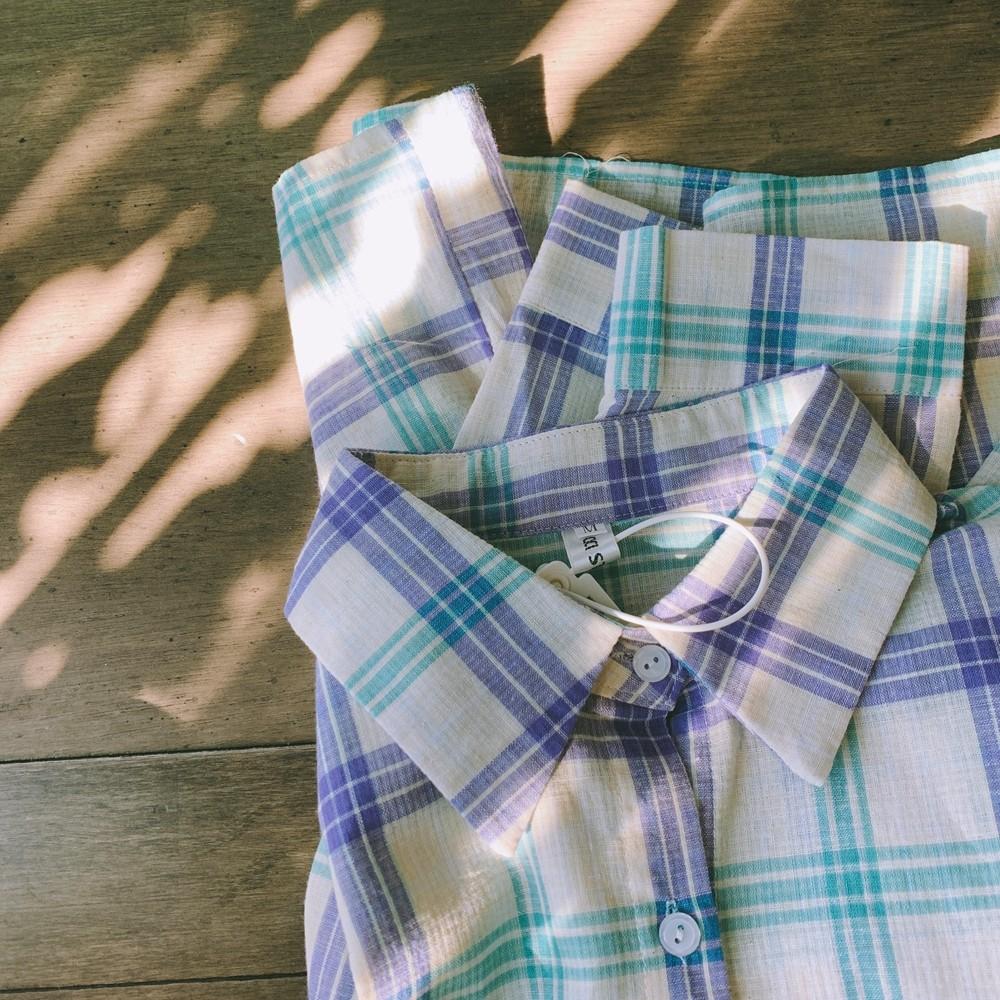 【預購】學院風.挺版厚棉麻 韓系格紋襯衫上衣~2色