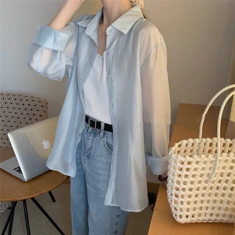 【預購】後開衩設計.薄款 珠光棉襯衫上衣~3色