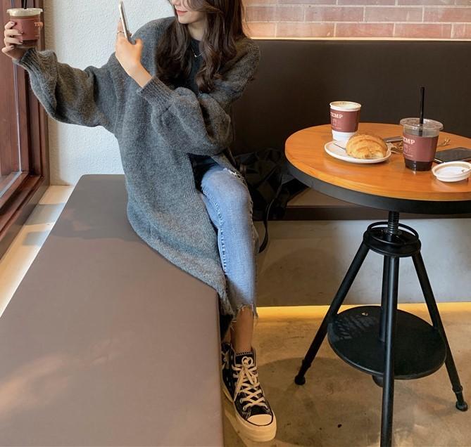 【預購】秋冬必備款!怎麼搭都好看的長版毛衣外套~3色