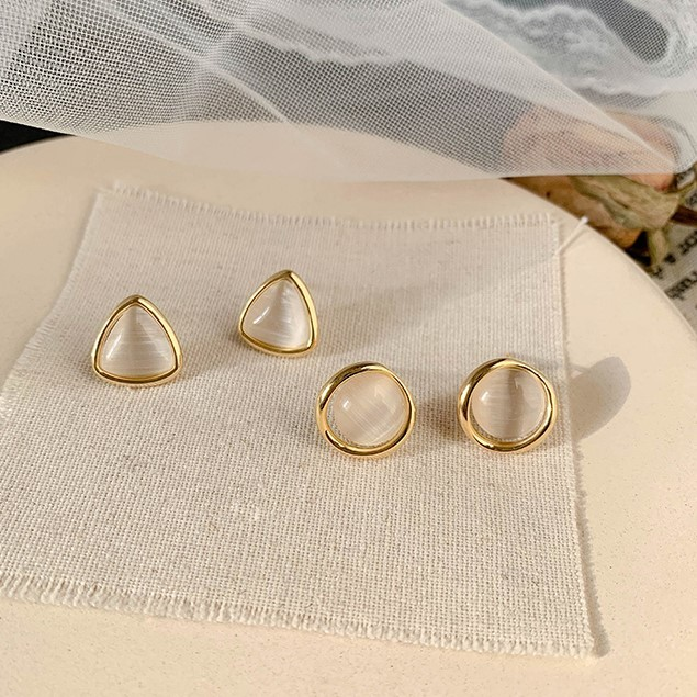 【預購】日常小優雅款.幾何貓眼石百搭925銀針耳環~2款