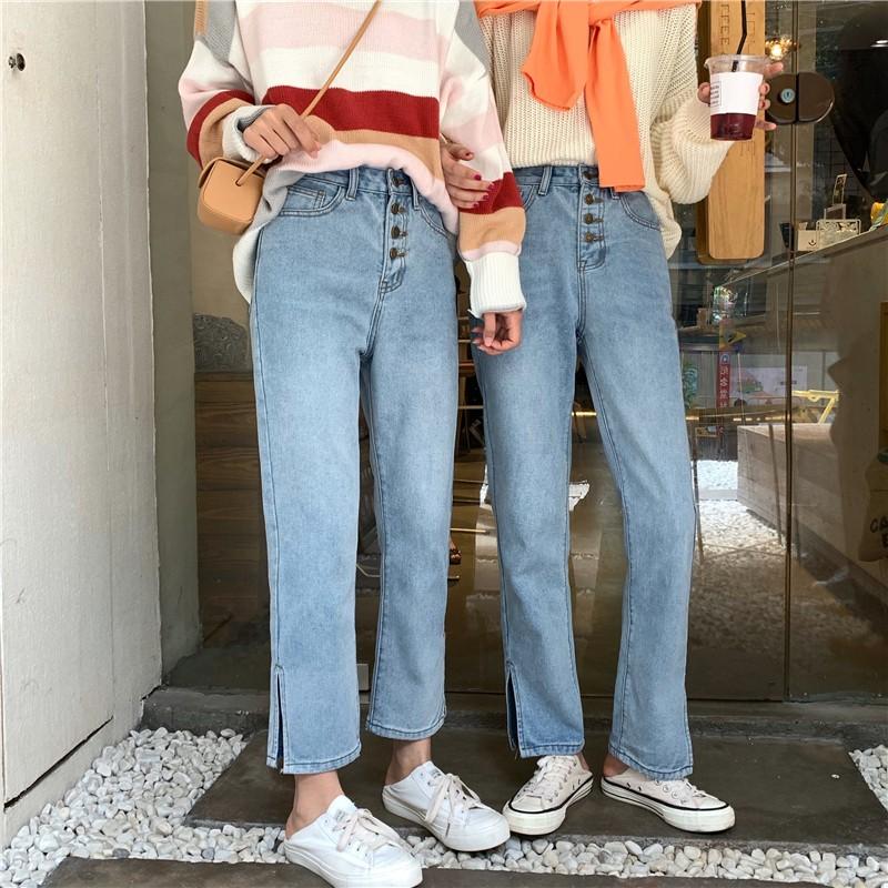 【預購】牛仔褲大賞.復古排扣褲腳開衩牛仔長褲~2款
