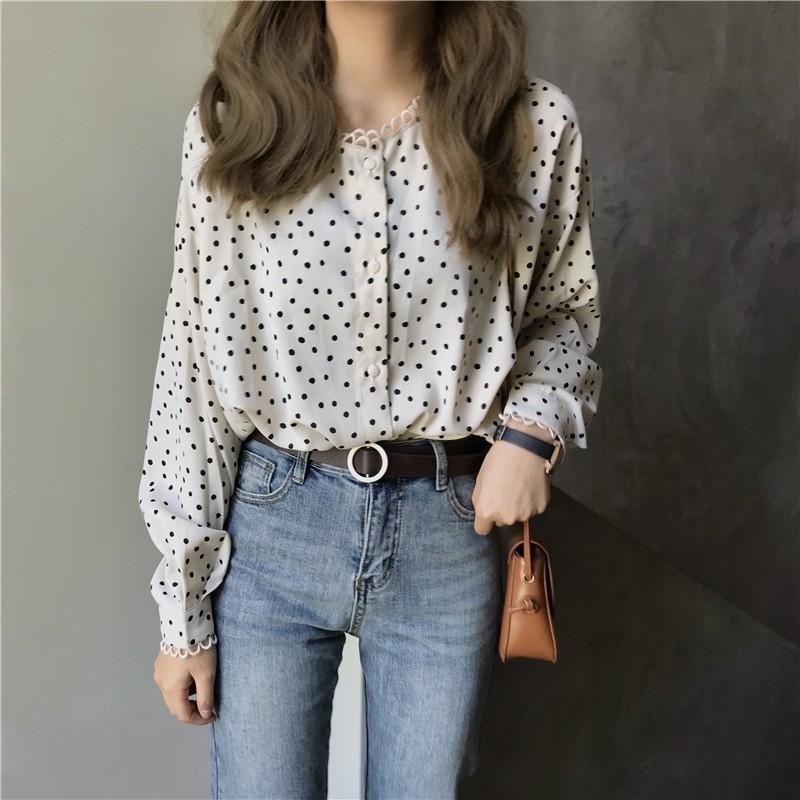【預購】溫柔女子專用.微甜小花邊設計 波點雪紡襯衫上衣