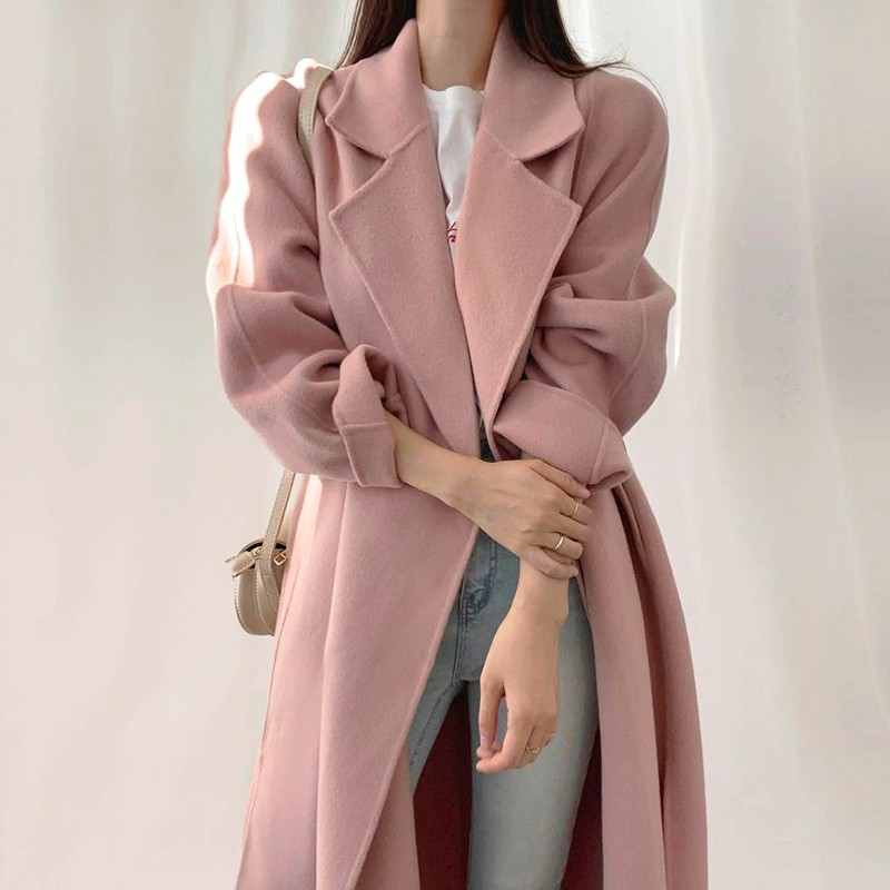 【預購】溫柔女子專用.少見的知性粉 西裝領毛呢綁帶大衣外套