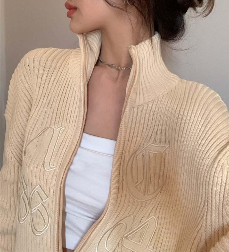【預購】復古輕奢.港風 刺繡針織拉鍊外套