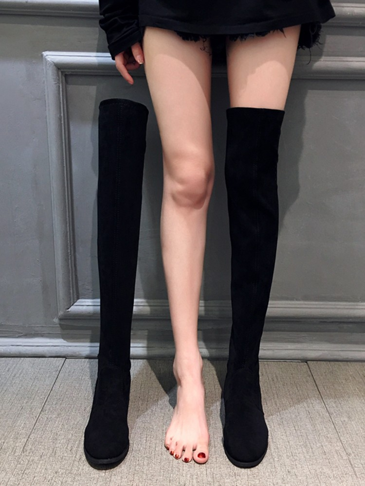 【預購】後綁帶設計.絨面百搭彈力膝上靴(35~41)