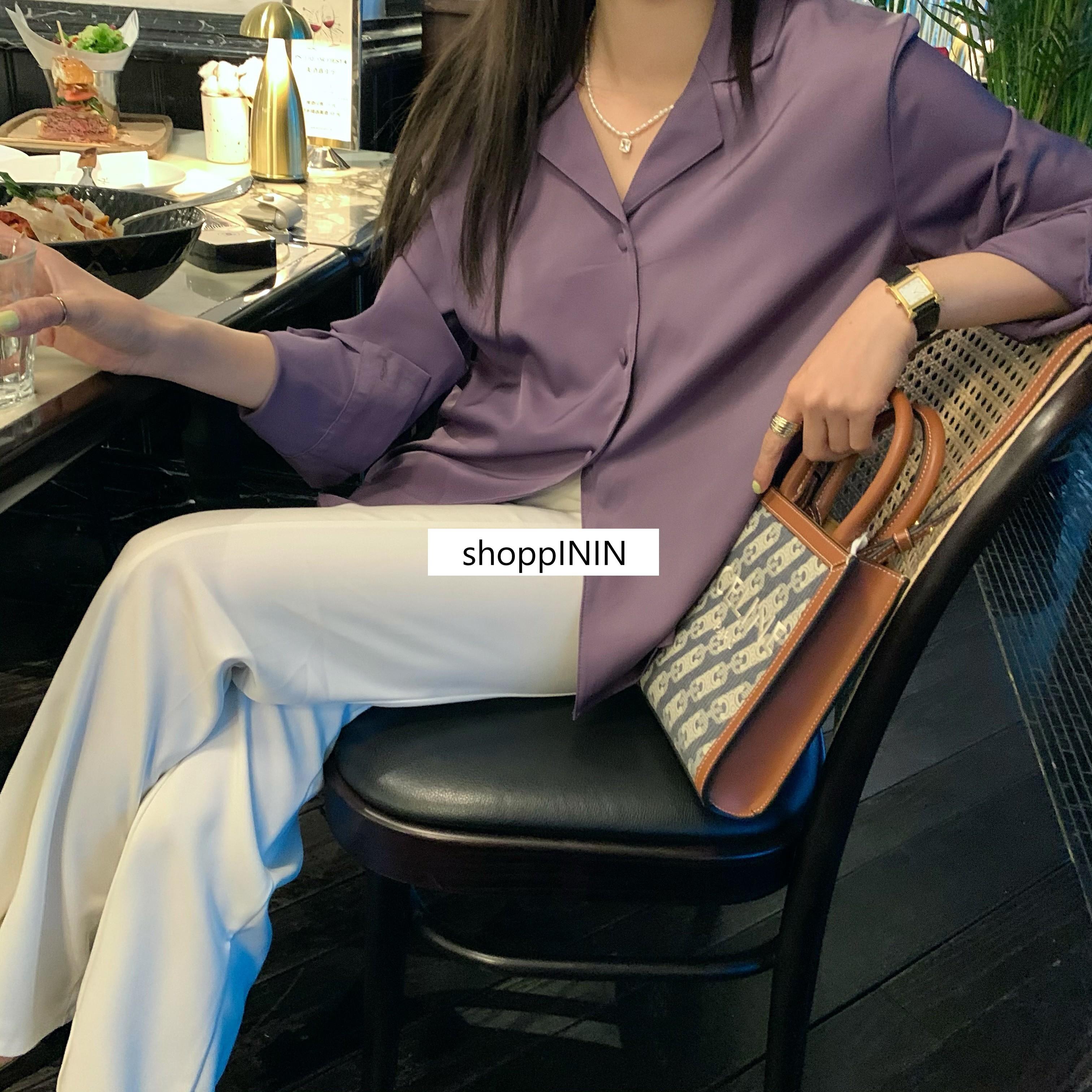 【預購】質感微緞面 西裝領襯衫上衣~4色