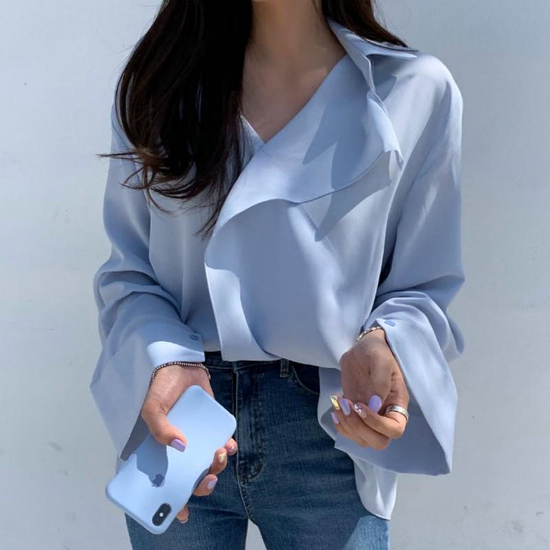 【預購】法式輕設計.大翻領 百搭襯衫上衣~2色