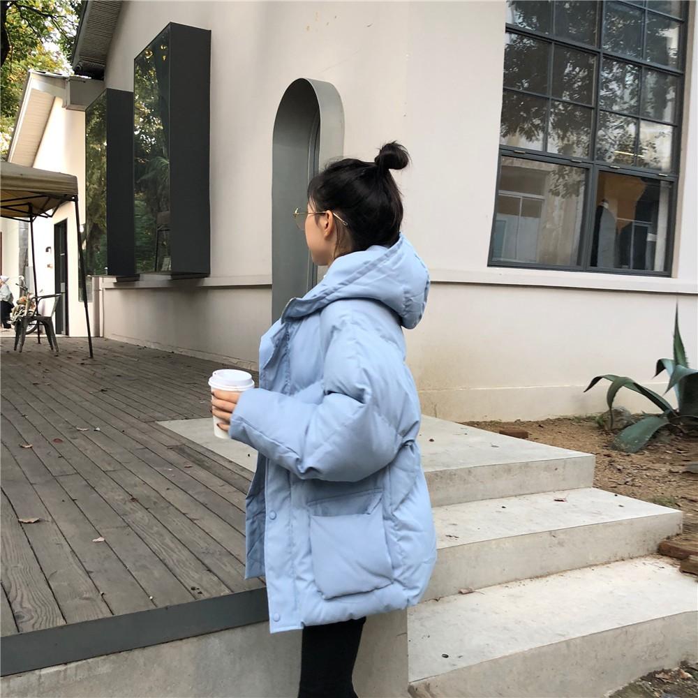 【現貨】冬天必備的學院風短款連帽棉服外套(淺藍色)