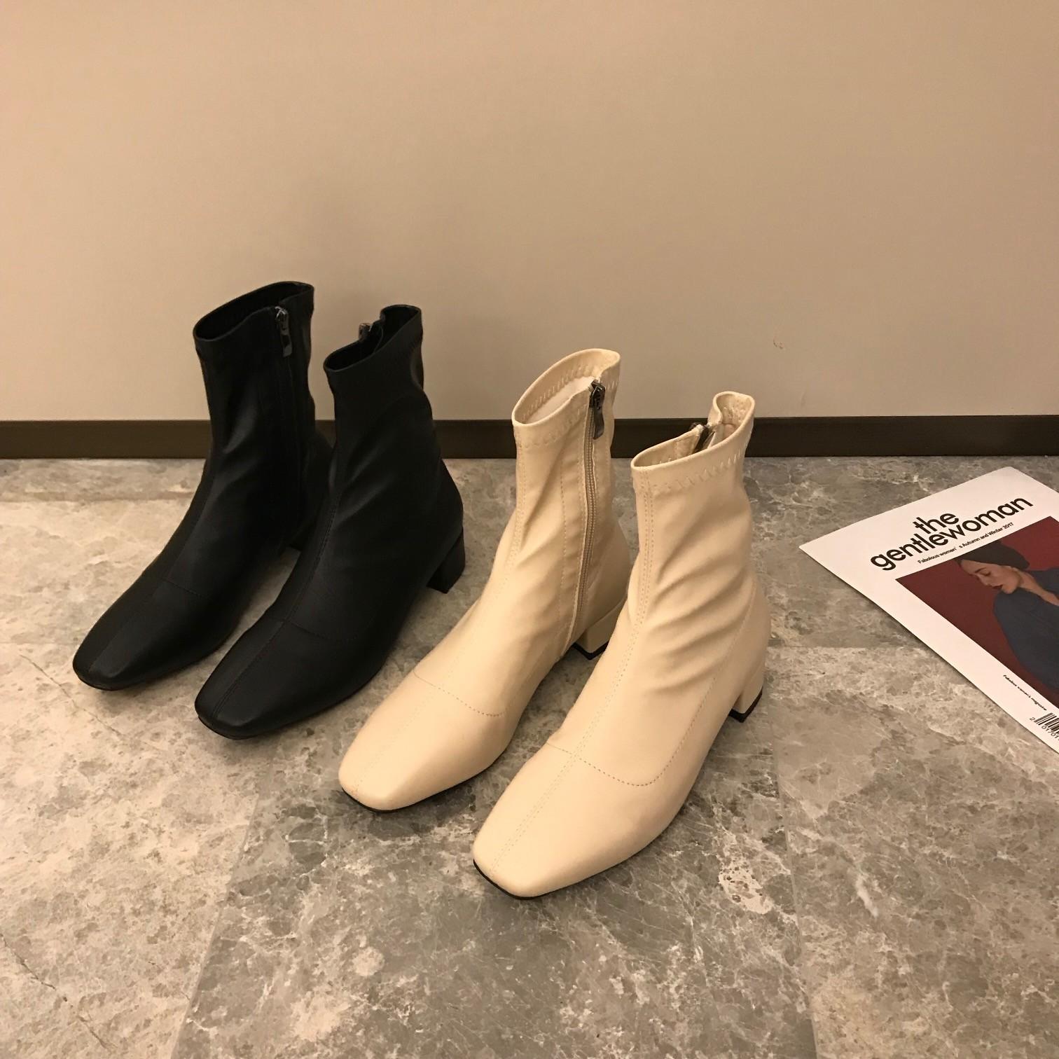 【預購】韓國原單.秋冬必備彈力方頭瘦瘦靴~2色