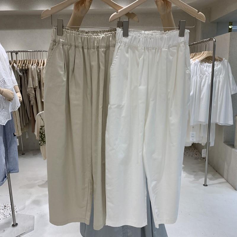 【預購】東大門款.顯瘦有型 棉麻七分老爹褲~3色