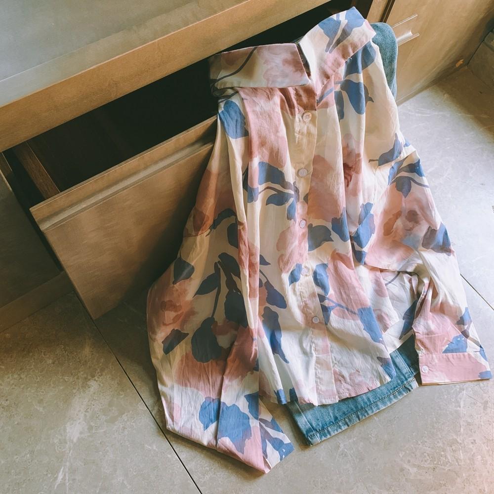 【預購】一點點性感の文藝女子.梨花海棠大花襯衫上衣