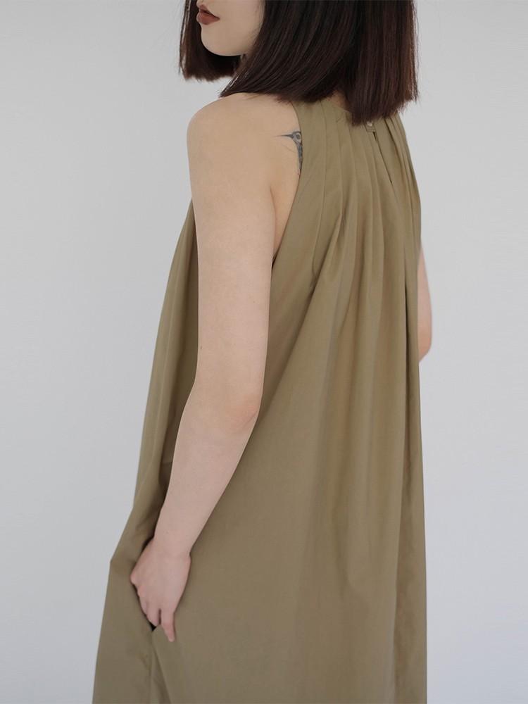 【預購】日系文藝風.顯瘦抓皺 無袖背心長洋裝~3色