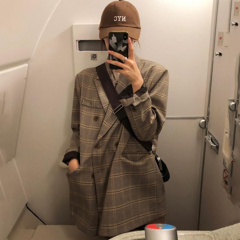 【預購】韓風率性感雙排扣格紋西裝外套