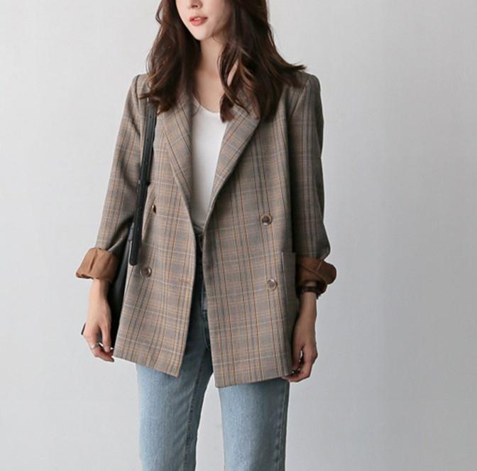 【預購】韓IG 超美卡其格紋西裝外套(S~XL)