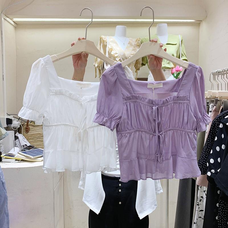 【預購】東大門款.春 浪漫風 設計款方領襯衫上衣~2色