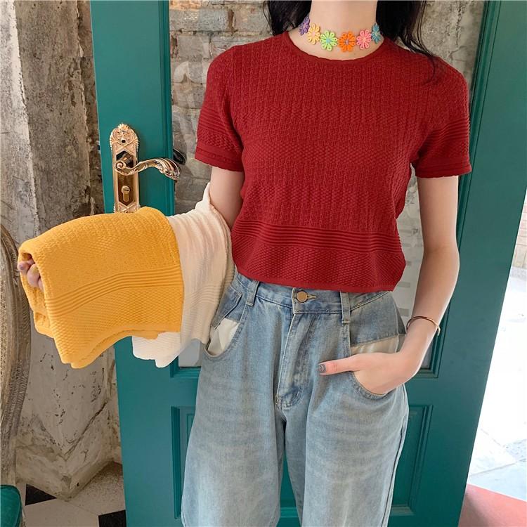 【預購】復古法式微立體針織衫短版上衣~3色