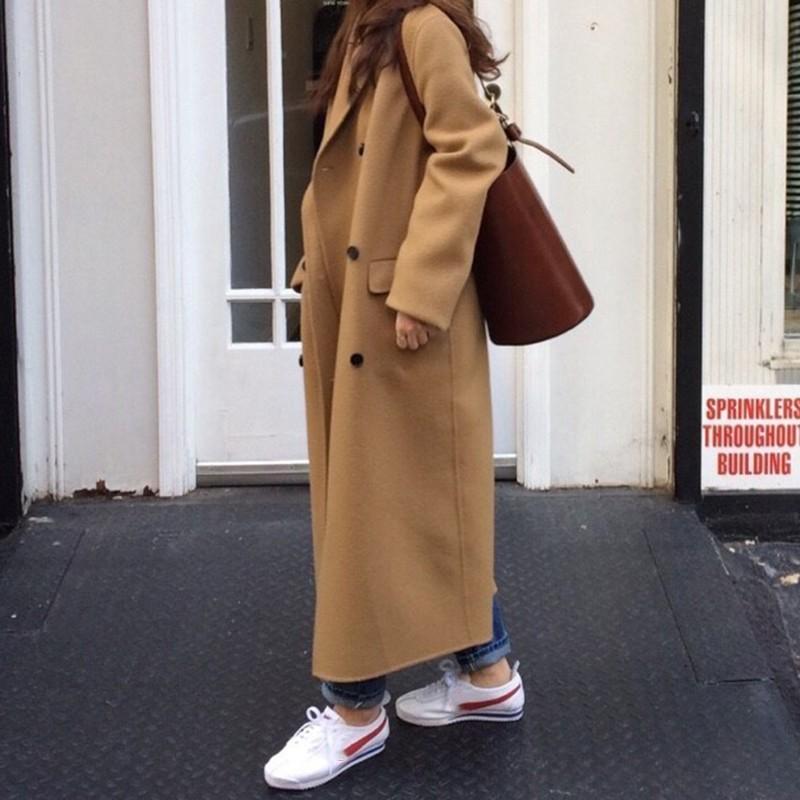 【預購】經典款!永遠不退流行 簡約西裝領雙排扣毛呢大衣外套~2色