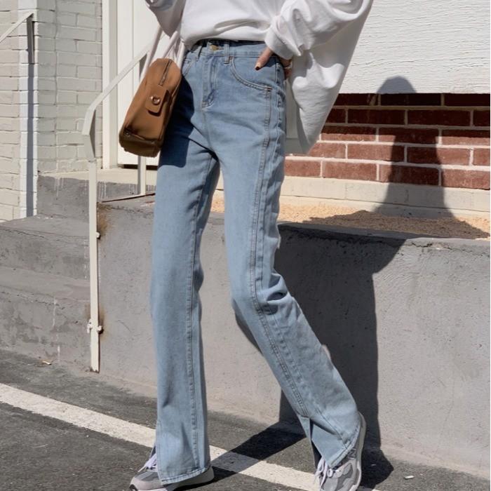 【預購】今年必備款!顯腿長 前開衩 微喇叭牛仔長褲