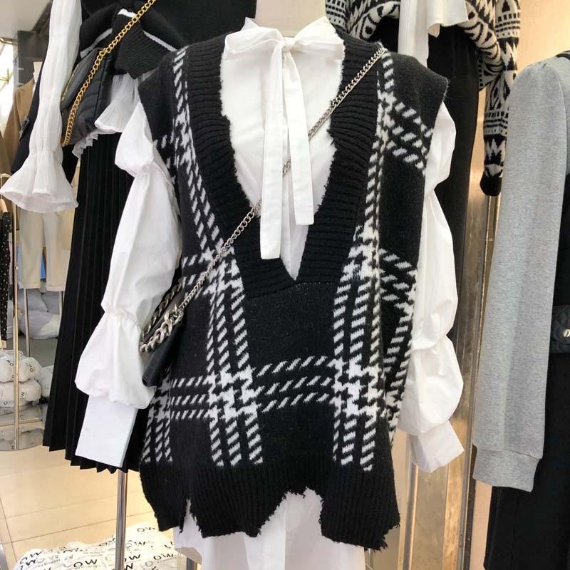 【預購】東大門款.超顯瘦 質感大格子設計款針織背心