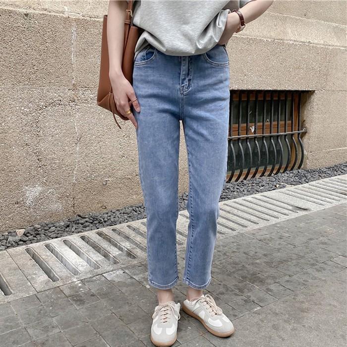 【預購】東大門款.夏天可穿 全彈力 親膚軟九分長牛仔褲~2色(S~XL)