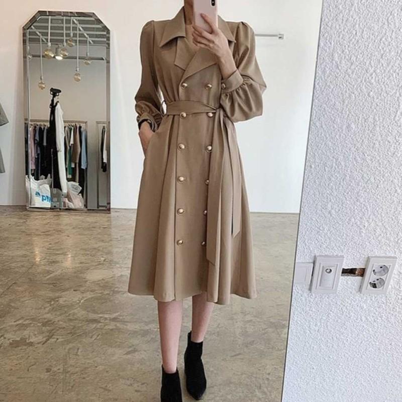 【預購】法式質感.西裝領雙排扣綁帶洋裝