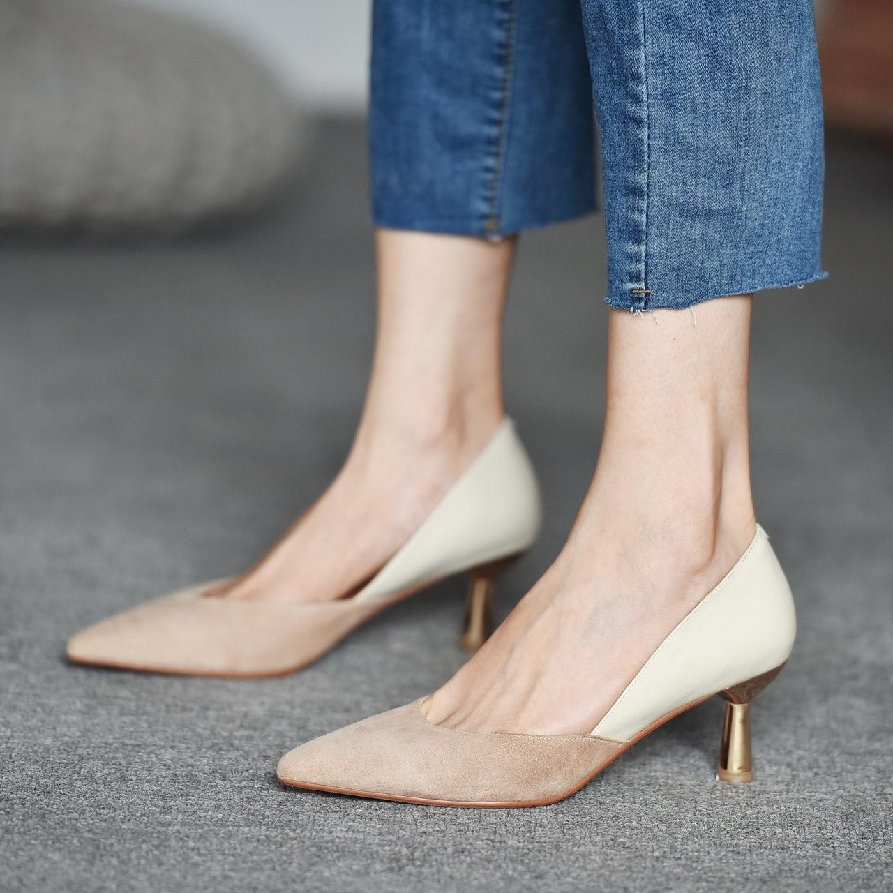 【預購】輕設計.法式優雅風 裸色拼接 高跟鞋