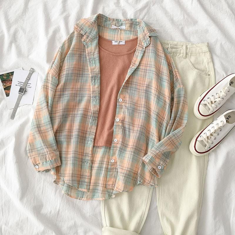 【預購】日系微甜文藝風格紋襯衫+背心套裝(兩件需分開購買)~4款