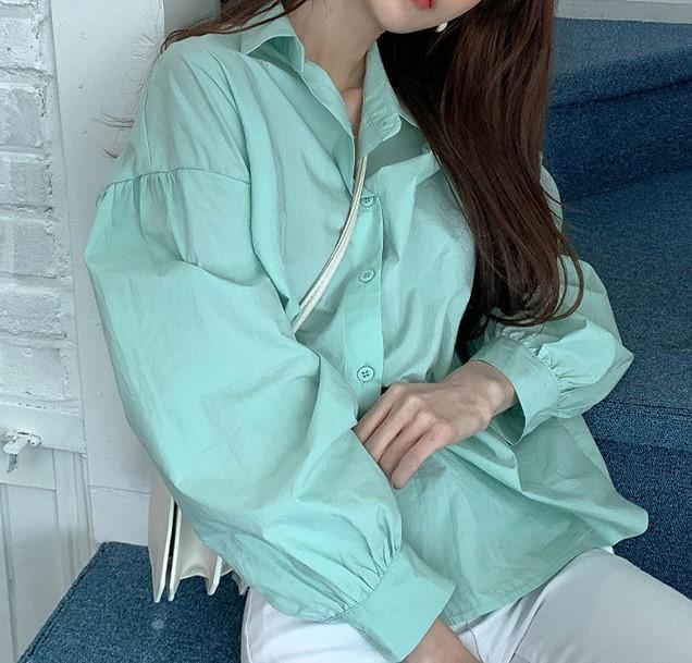 【預購】歐膩的衣櫃.特殊色系 溫柔薄荷綠棉質襯衫上衣