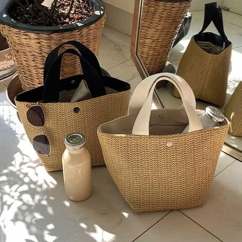 【預購】實用款 可愛小草編手提袋~2色