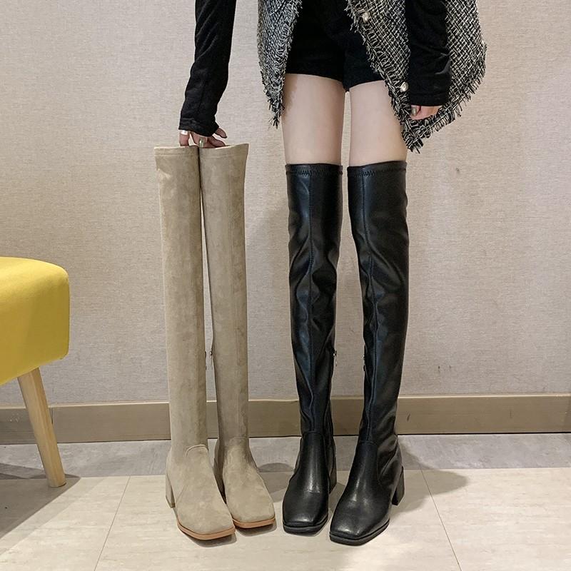 【預購】秋冬來一雙!半拉鍊式中跟膝上靴~2款(35~40)
