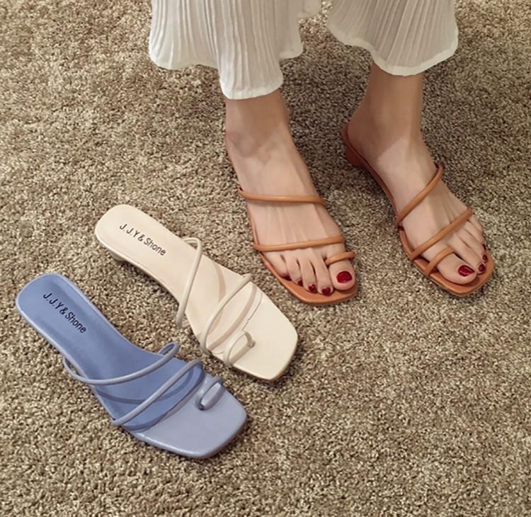 【預購】日常優雅款.細帶小圓跟低跟拖鞋~3色