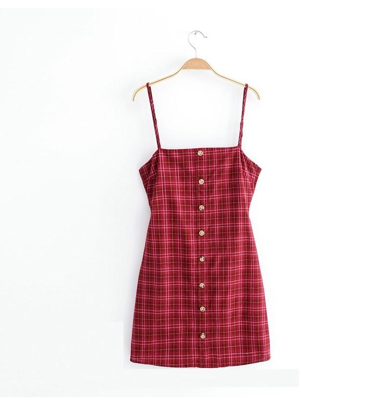 【預購】法國少女.質感暗紅格紋後綁帶洋裝