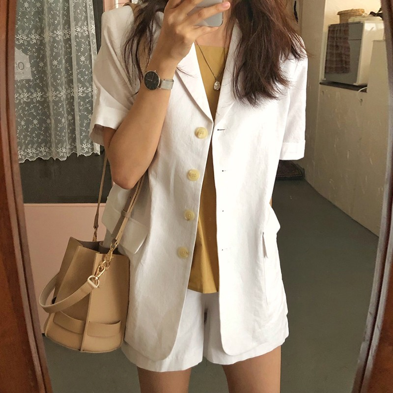 【預購】韓IG 率性女子的西裝外套 + 短褲套裝~2色(上下需分開購買)