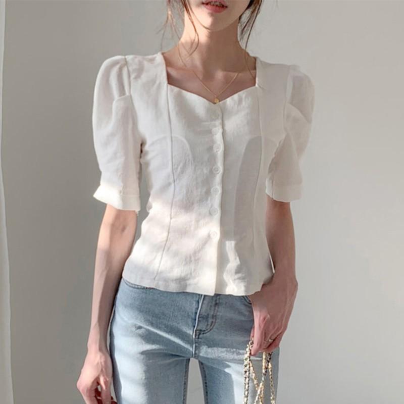 【預購】歐膩的衣櫃.知性女子方領排扣襯衫上衣~2色