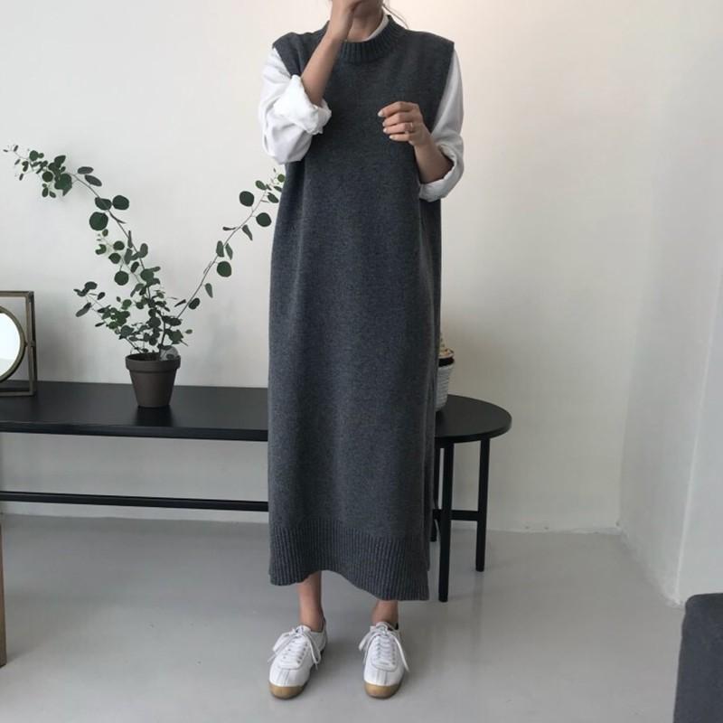 【預購】韓IG 簡約百搭的素色針織背心長裙~2色