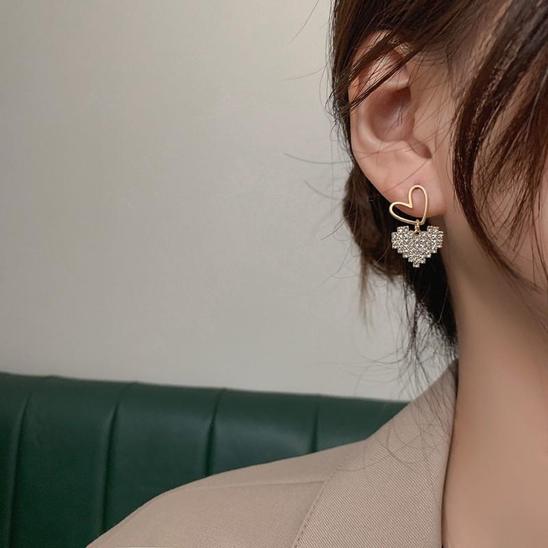 【預購】今年必備款!金屬鋯石 雙層愛心耳環(耳針、耳夾款都有)